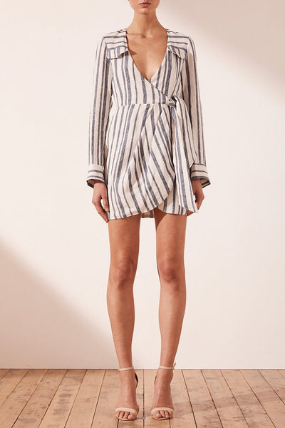 Shona Joy | Bautista Draped Shirt Mini Dress
