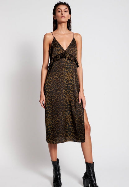 Khaki Leopard Long Slip Dress