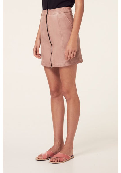 OnceWas | Mahal Washed Zip Front Skirt - Washed Peony