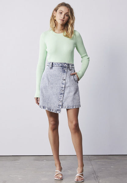 Ena Pelly | ALLY ASYMMETRICAL DENIM MINI SKIRT
