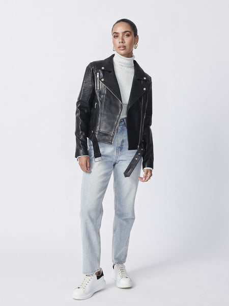 Ena Pelly | Classic Biker Jacket - Black/Silver/Smooth