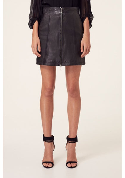 OnceWas | Mahal Washed Zip Front Skirt - Black