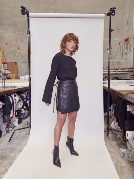 Pfeiffer | Bleach & Irony Leather Skirt