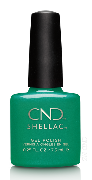 CND SHELLAC - Art Basil (Discontinued) Opaque Jade Green with Pink Shimmer