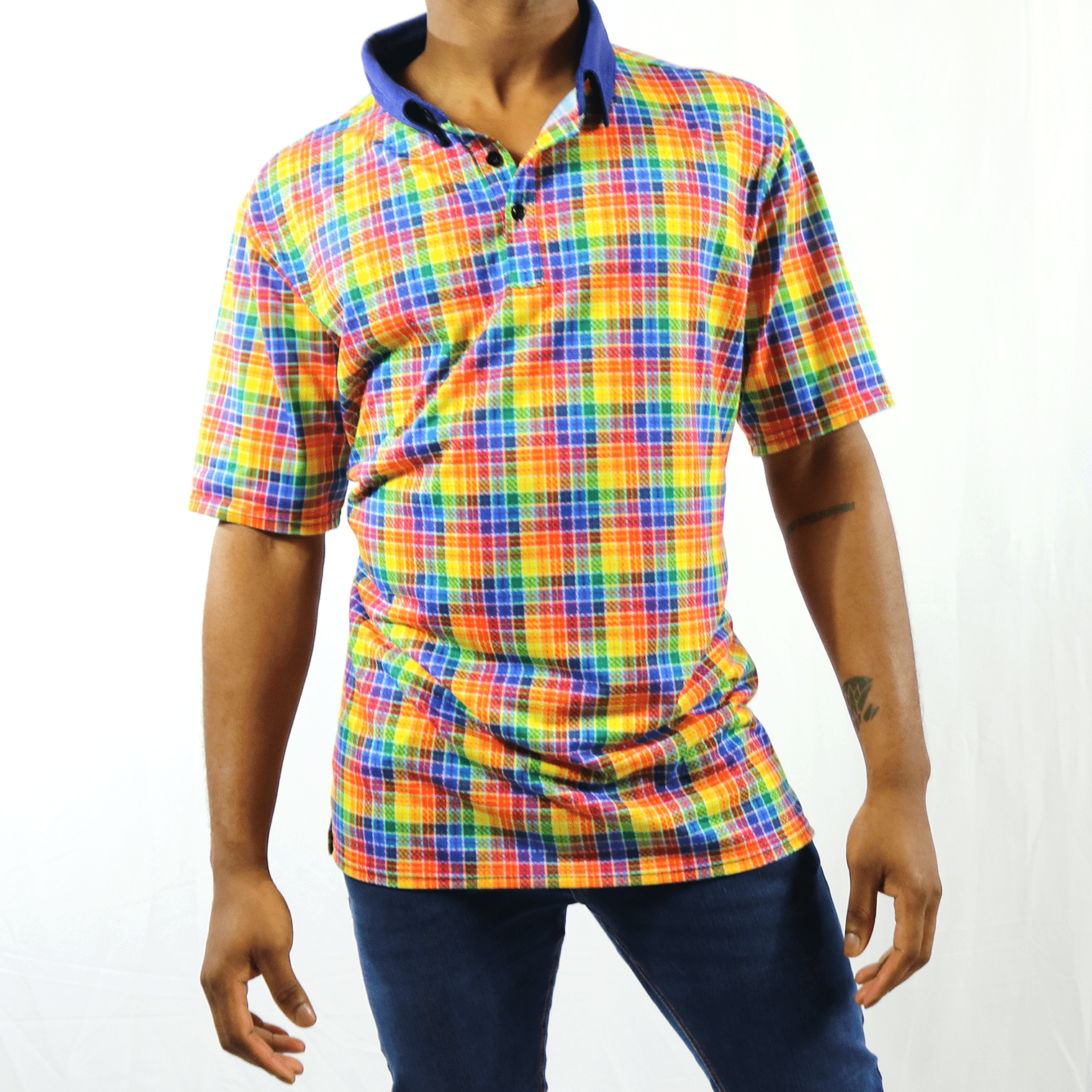 Pride Plaid Jersey Polo