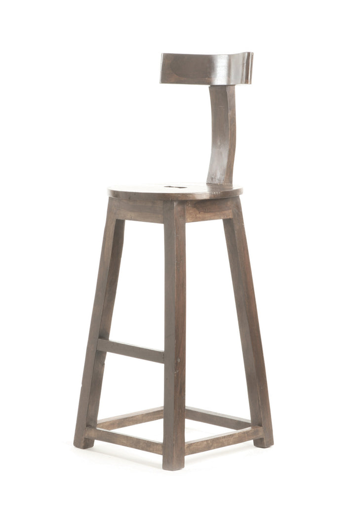 26 Inch Seat Height Rustic Wooden Bar Stool Set Of 2