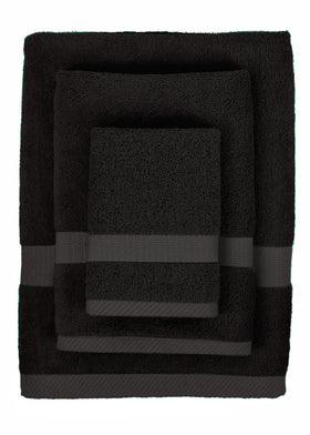 Attractive 3 Piece Bamboo Viscose Bath Towel Set In Black Bath Towels Alan Decor