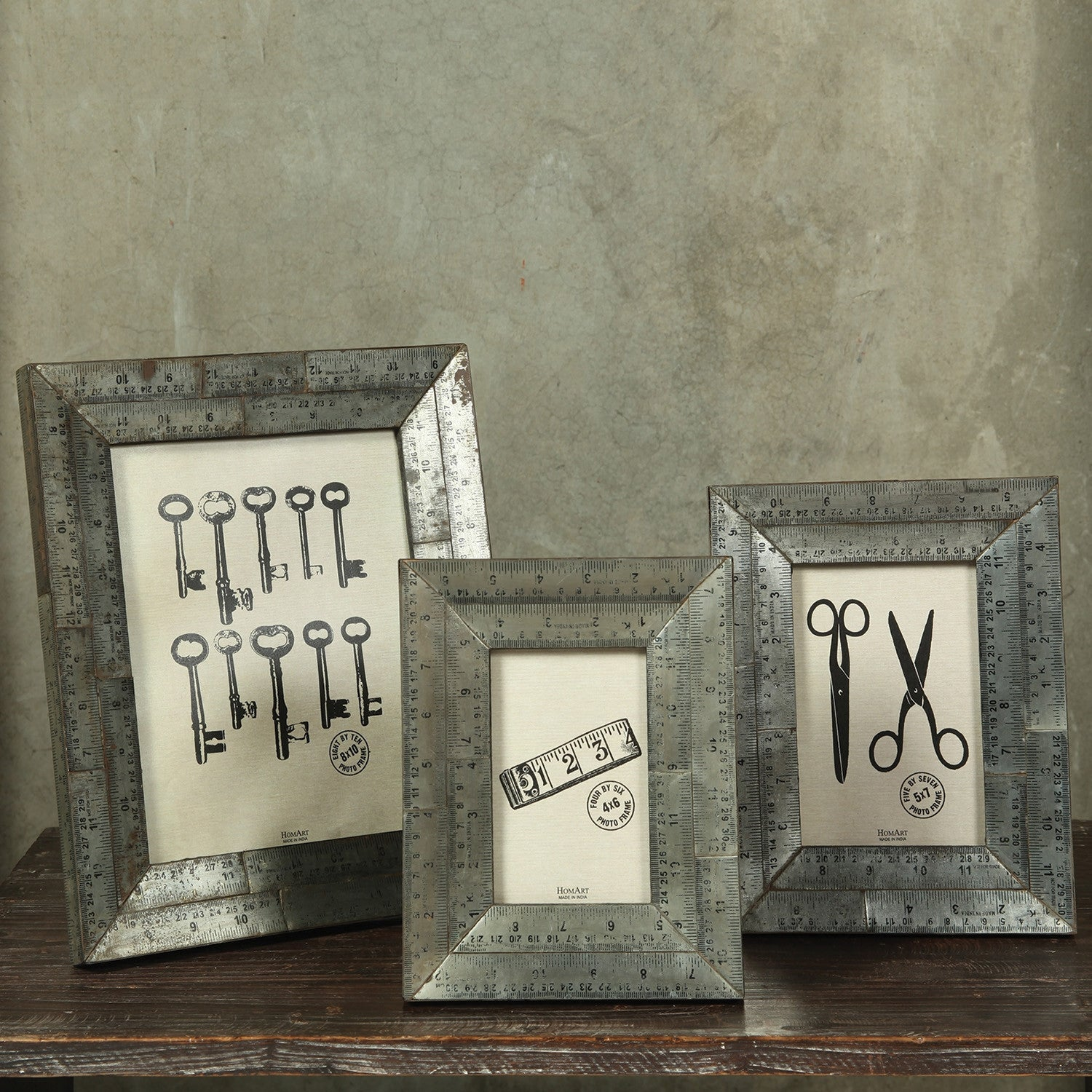 8x10 Ruler Photo Frame In Metal Set Of 2