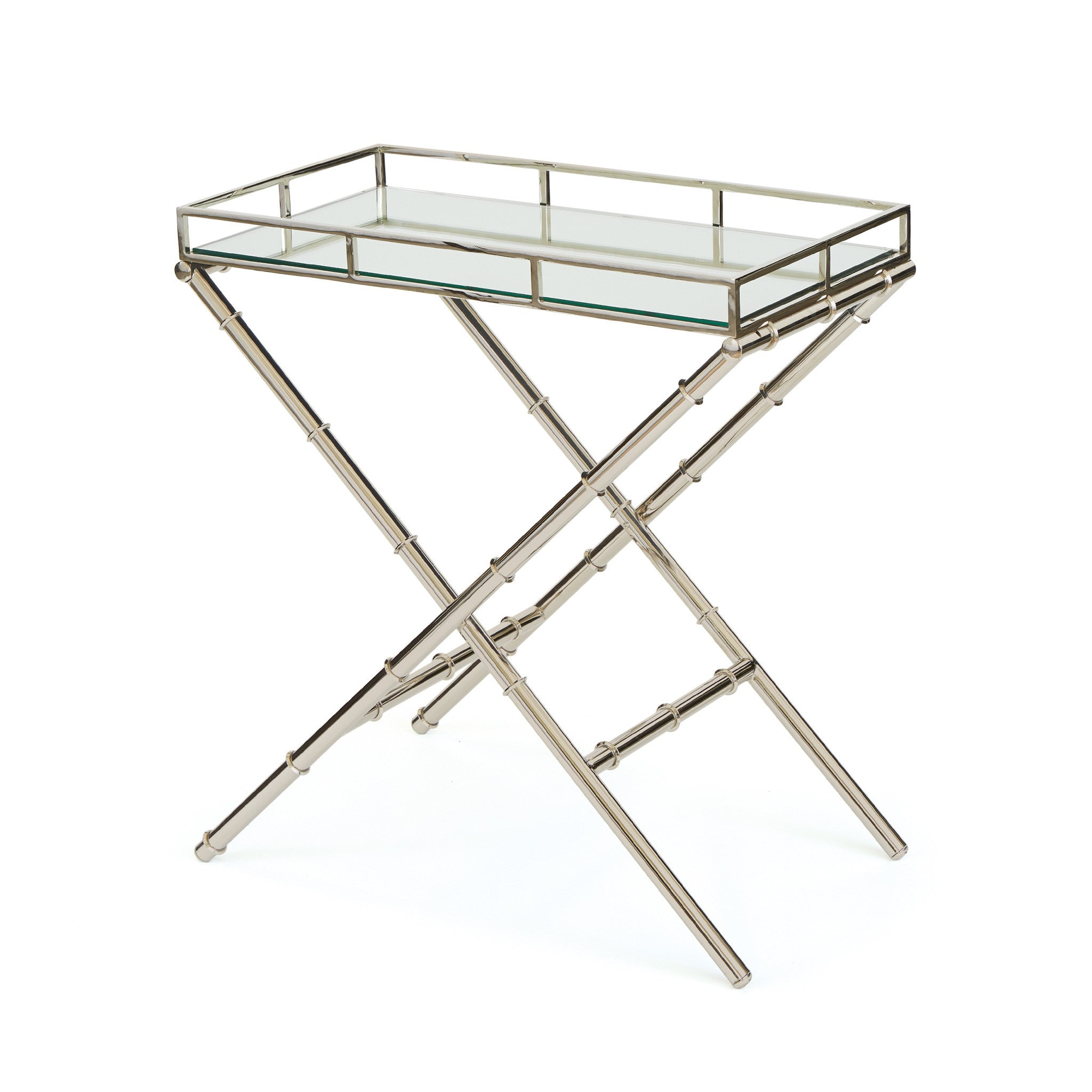 Adler Side Table In Polished Nickel And Glass Side Tables Alan Decor