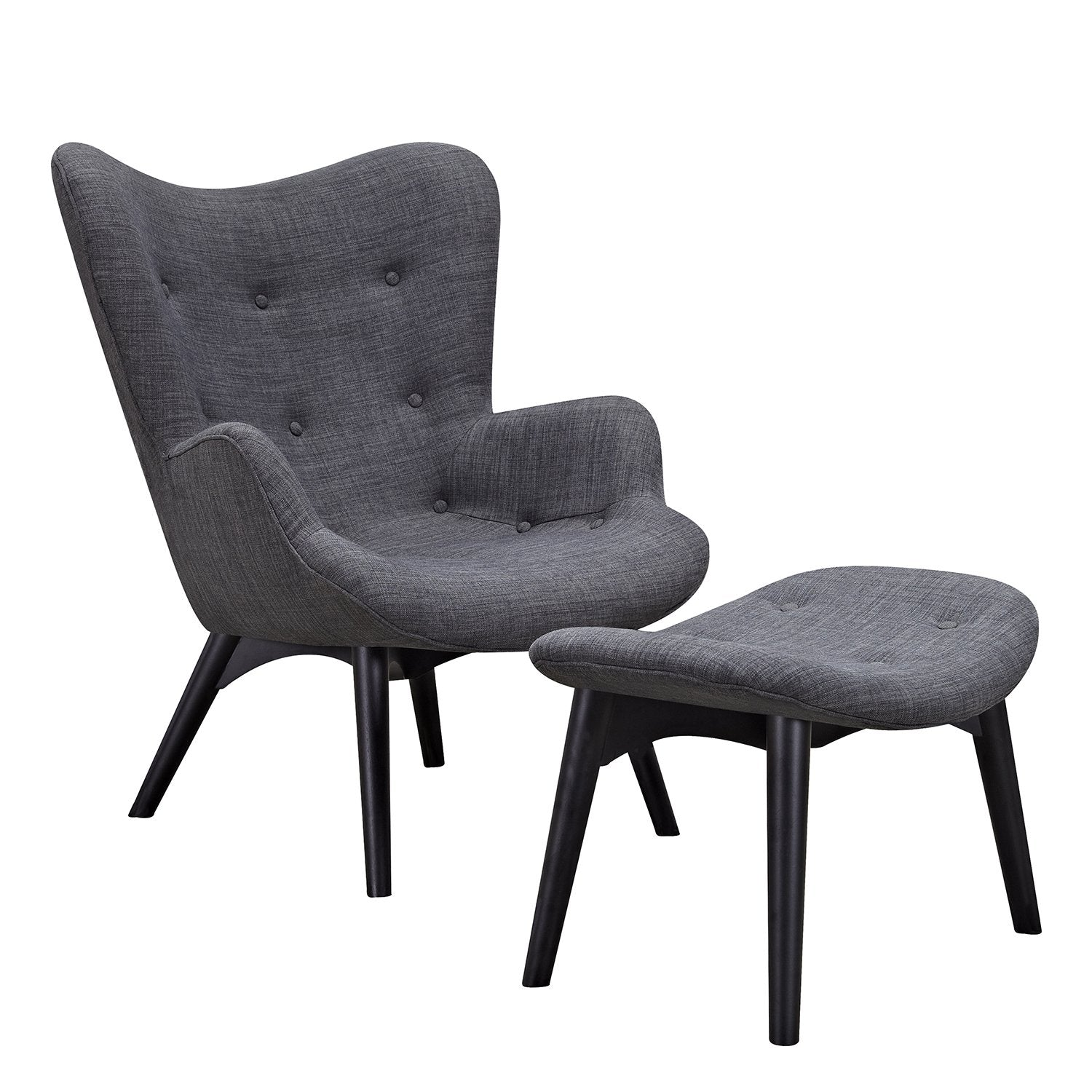 Aiden Chair And Ottoman In Charcoal Gray Fabric With Black Ash Legs Accent  Chairs  ...