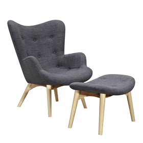 Aiden Chair And Ottoman In Charcoal Gray Fabric With Natural Ash Legs Accent  Chairs
