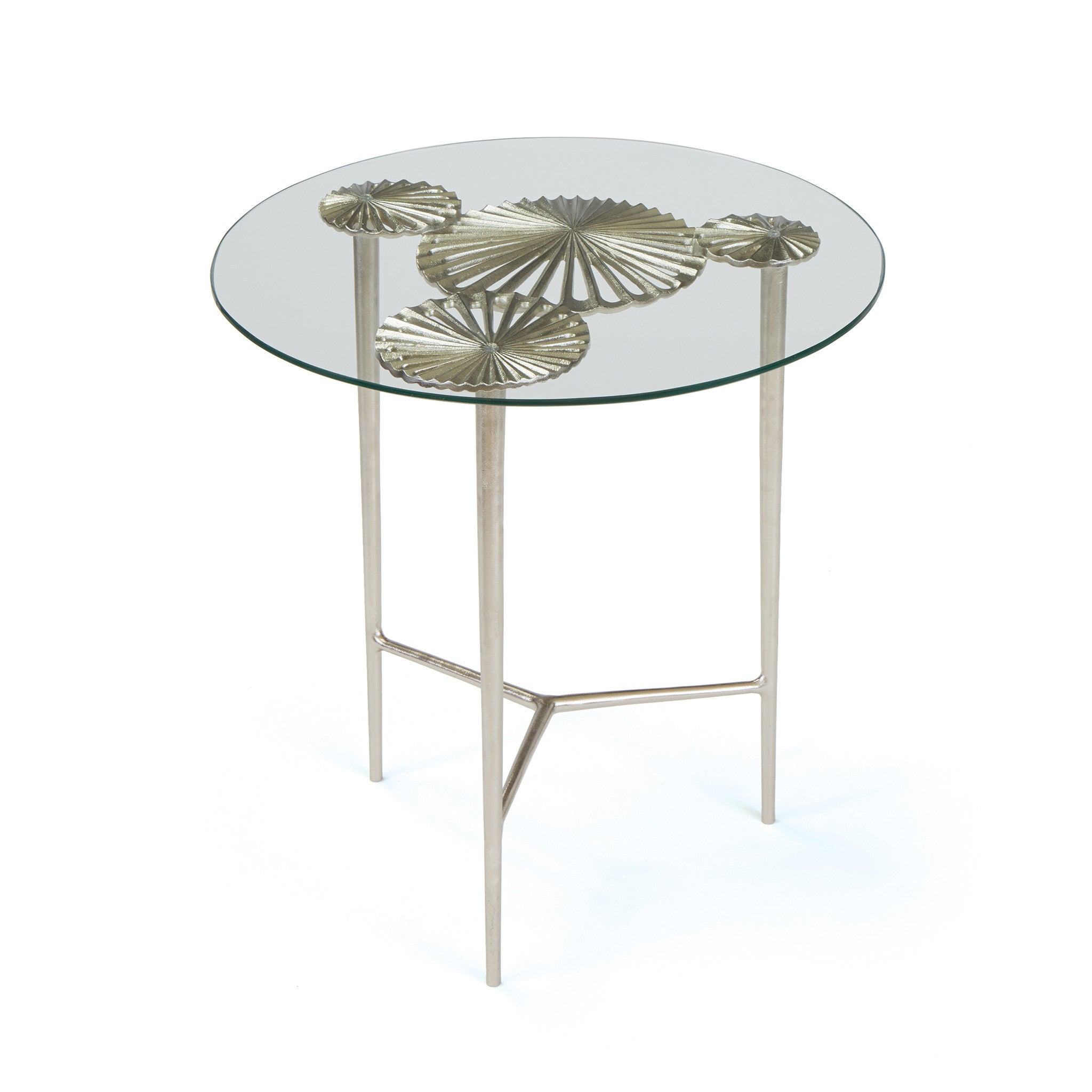 Superior Alton Side Table With Round Glass Top On Brushed Nickel Aluminum Side Tables  Alan