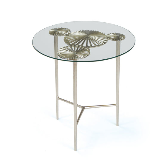 Beautiful Alton Side Table With Round Glass Top On Brushed Nickel Aluminum Side Tables  Alan