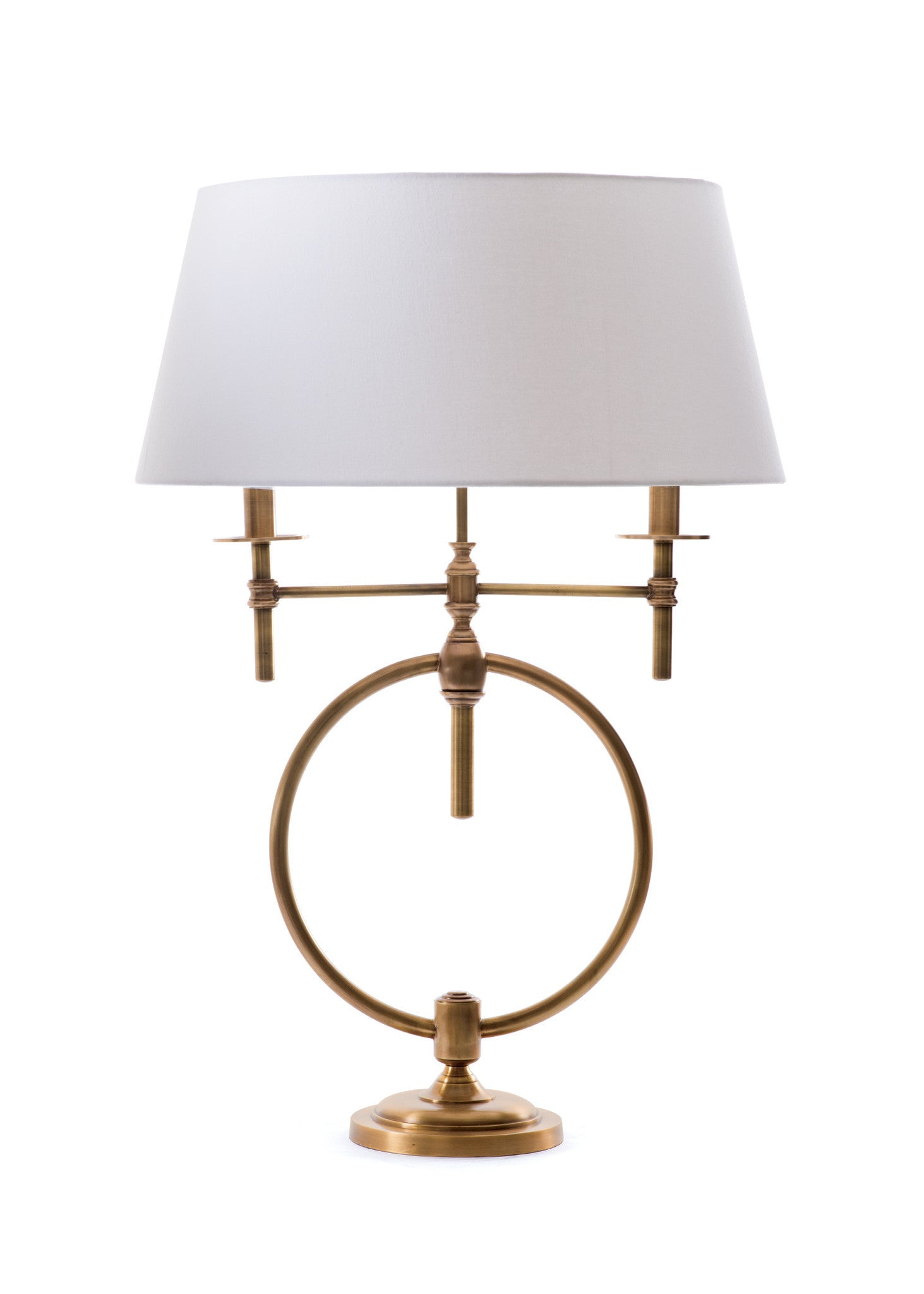 Modern contemporary rustic vintage industrial lighting alan decor anello table lamp in aged brass with fabric shade table lamps alan decor geotapseo Image collections