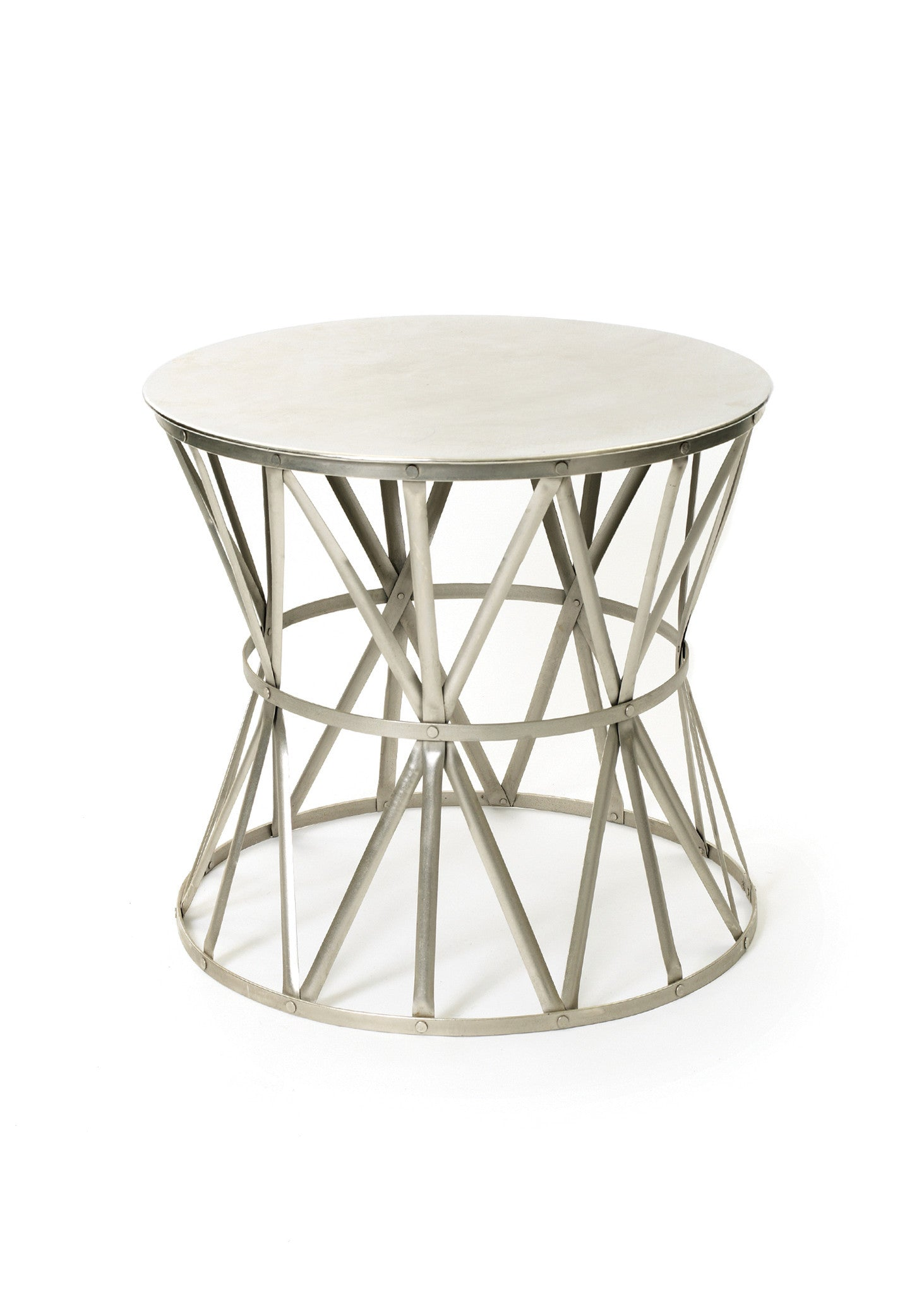 Slim round end table modern accent table with drawer calvin end table - Angle Round Side Table In Polished Nickel Steel Side Tables Alan Decor