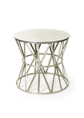Charmant Angle Round Side Table In Polished Nickel Steel Side Tables Alan Decor