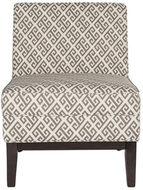 Armond Accent Chair In Fabric With Greek Key Pattern On Wood Legs Accent  Chairs