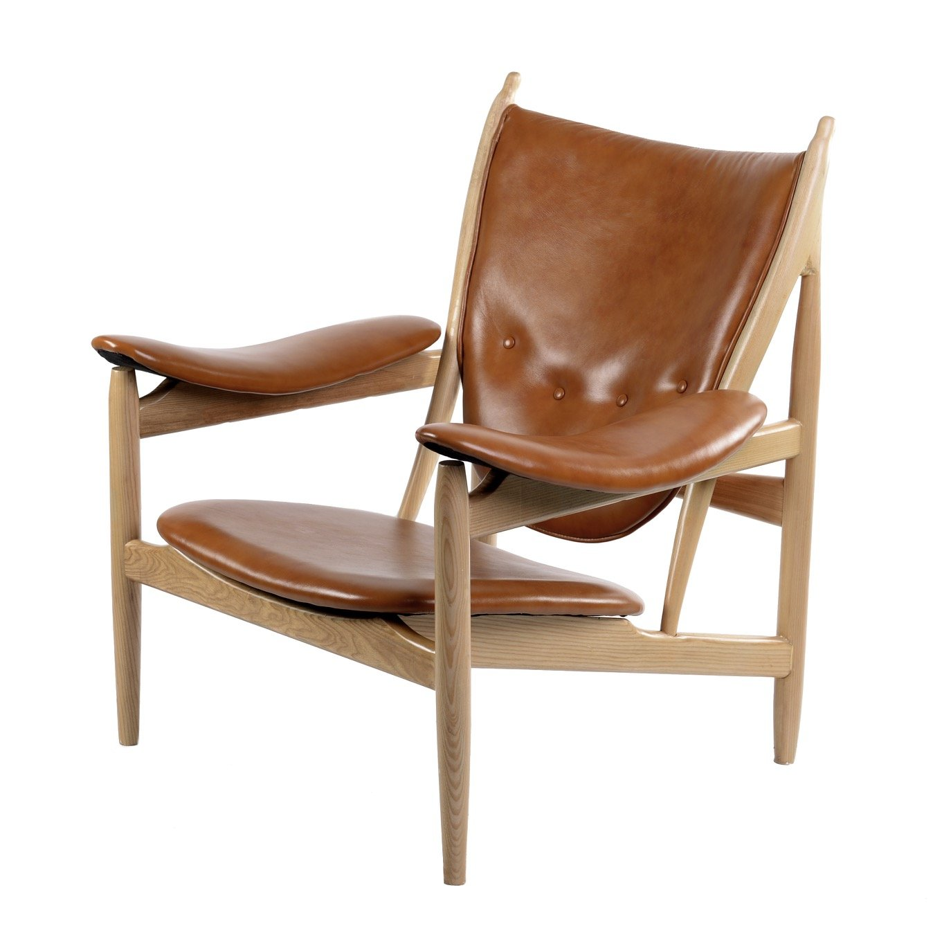 arne chair in burnt orange leather on mid century wood frame accent chairs alan - Wood Frame Accent Chairs