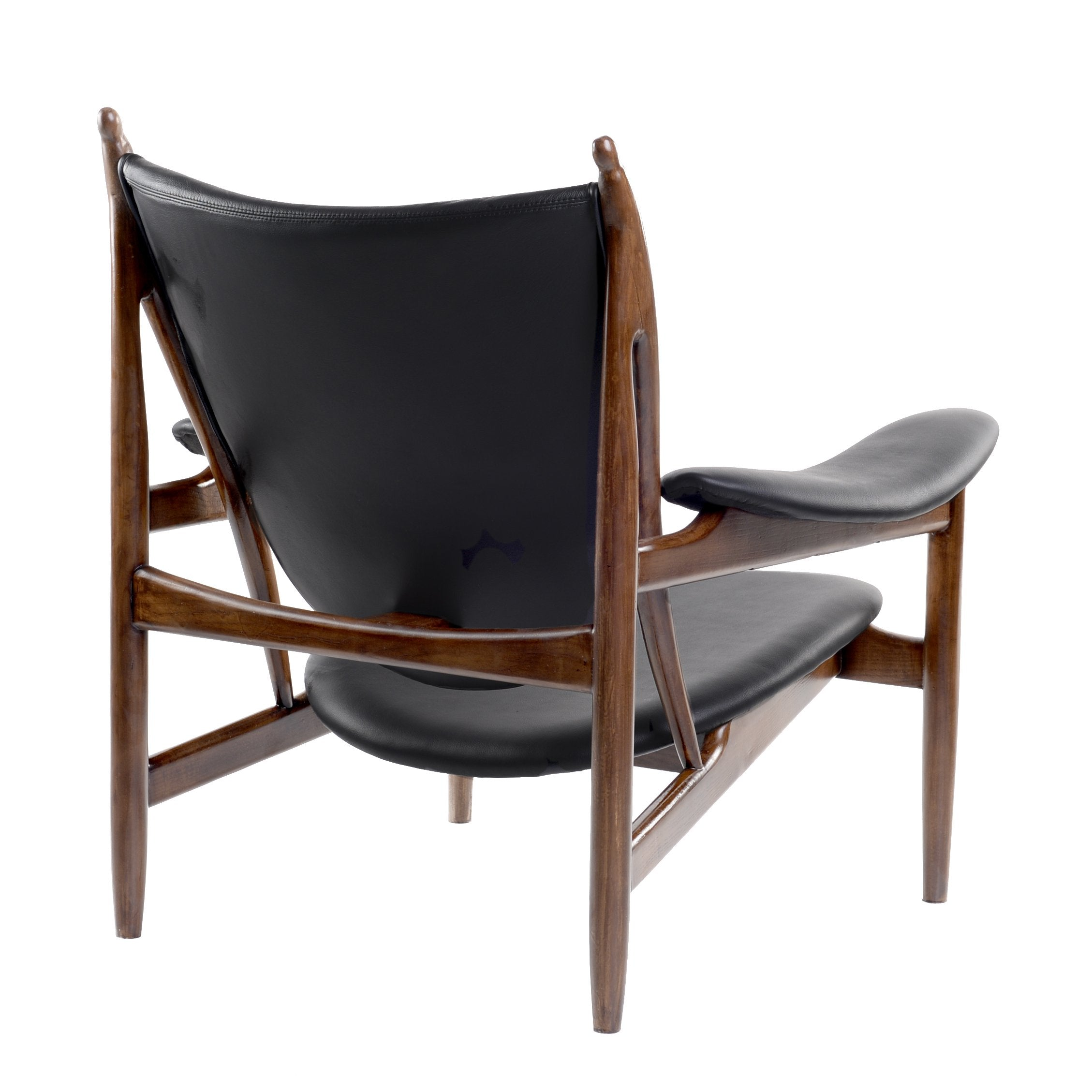 Arne Chair in Jet Black Leather on Mid Century Wood Frame