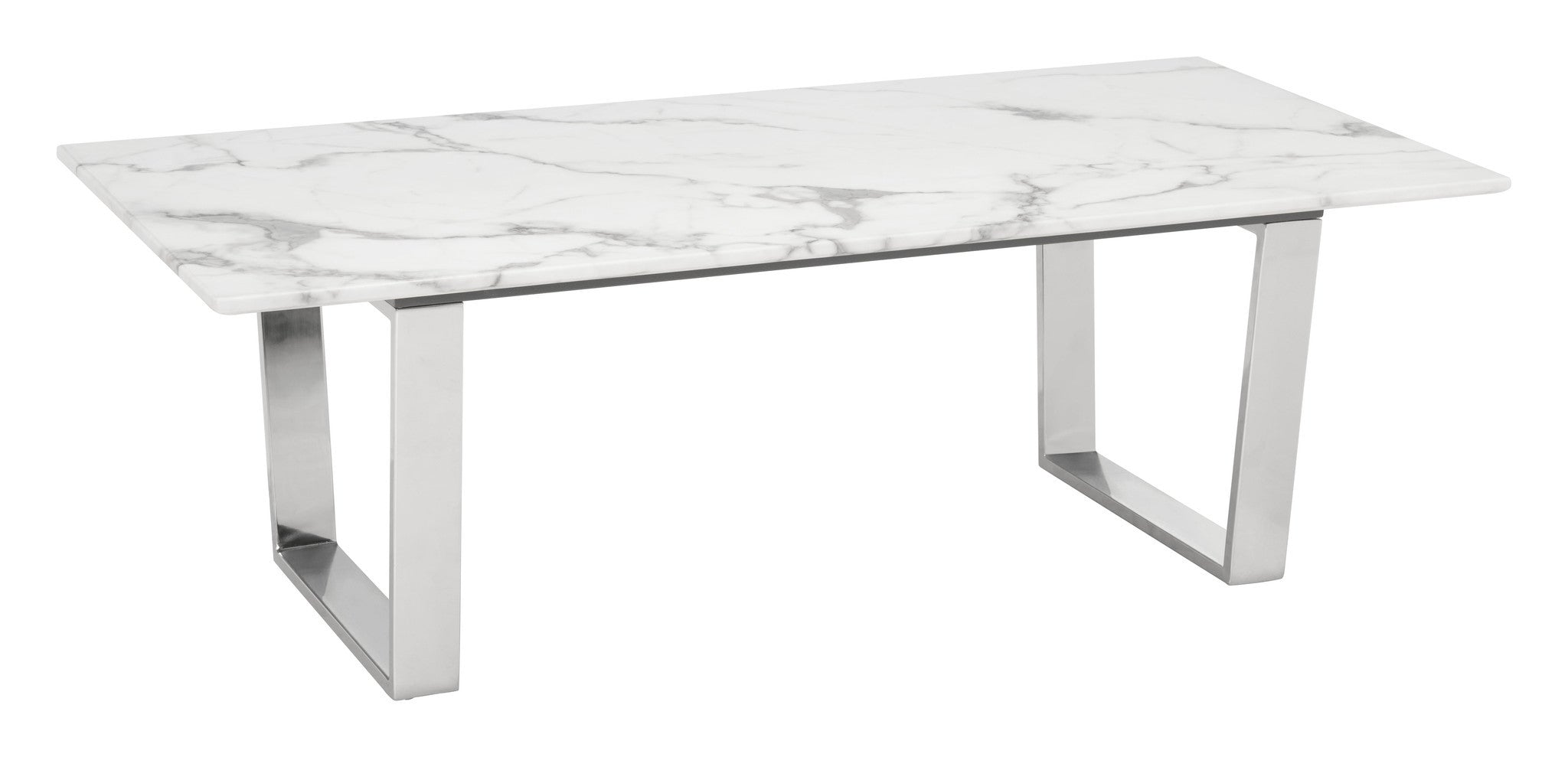 Lovely Atlas Coffee Table With Faux Marble Top On Brushed Stainless Steel Base Coffee  Tables  ...