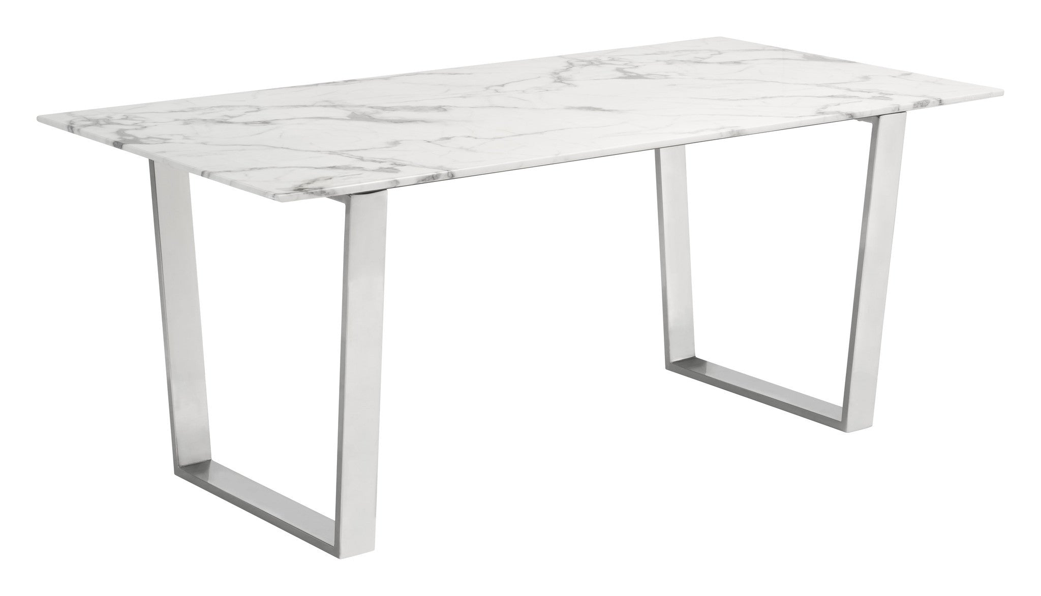 Atlas Dining Table With Faux Marble Top On Brushed Stainless Steel Base Dining  Tables  ...