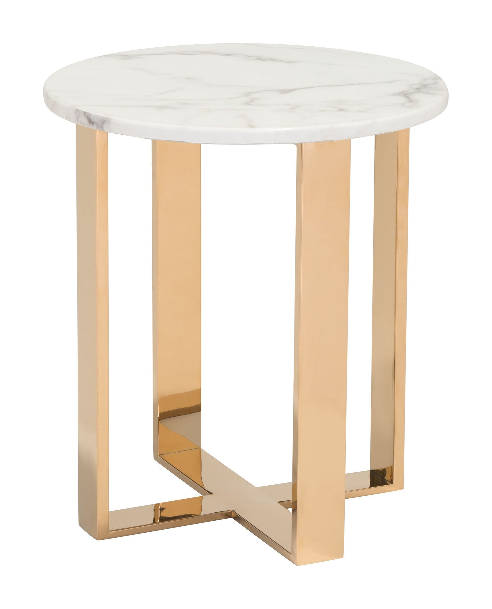 Atlas end table with faux marble top on gold stainless for Side table base