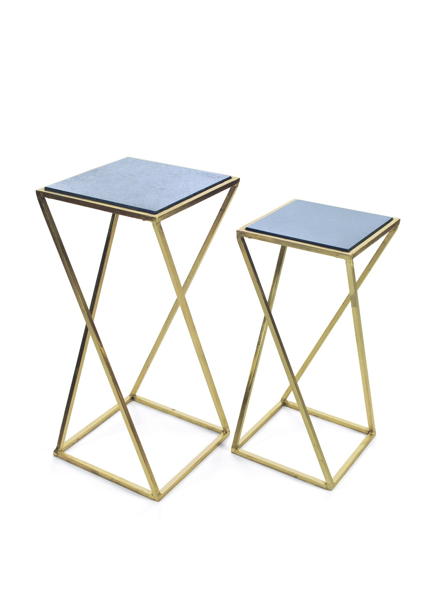 Aubrey Occasional Tables With Slate Top On Polished Brass Base (Set Of 2)