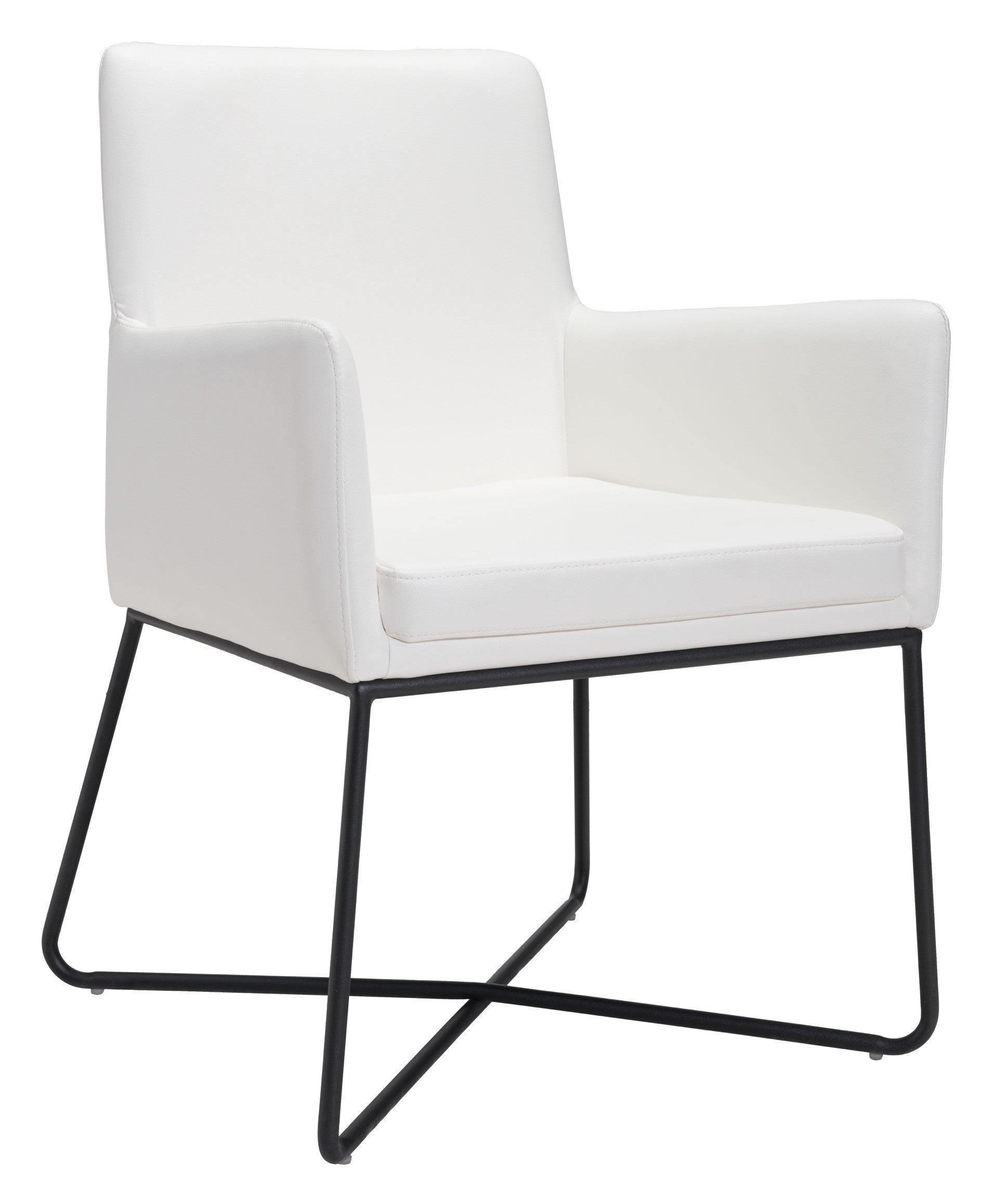 White Accent Chairs Used.Axel Lounge Chair In White Leatherette On Painted Steel Frame