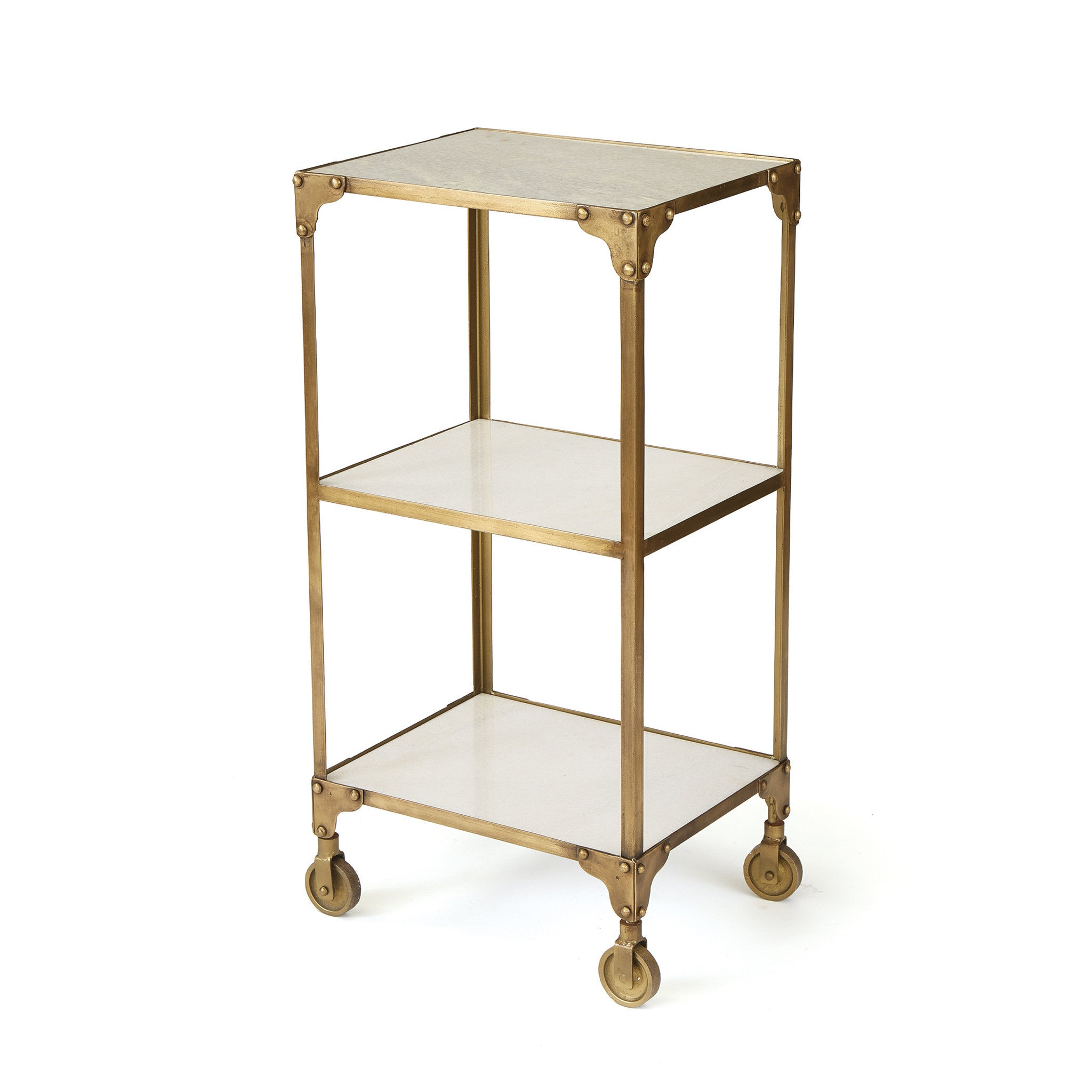 Ayden Side Table In Antiqued Brushed Brass Iron With Marble Shelves Side  Tables Alan