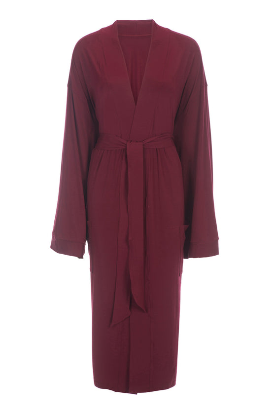 06b726586a Bamboo Viscose Robe in Maroon Red-Bathrobes-Alan Decor
