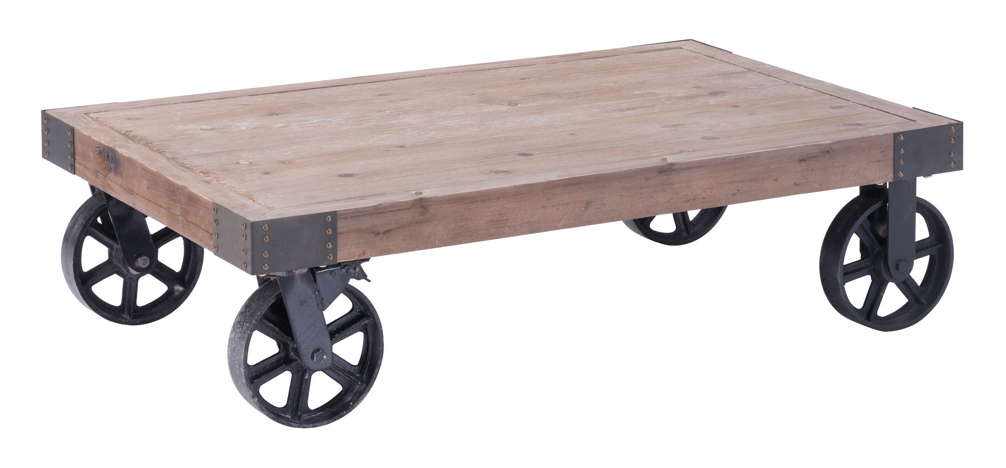 Barbary Coast Cart Coffee Table In Distressed Natural Fir Wood Coffee Tables Alan  Decor ...