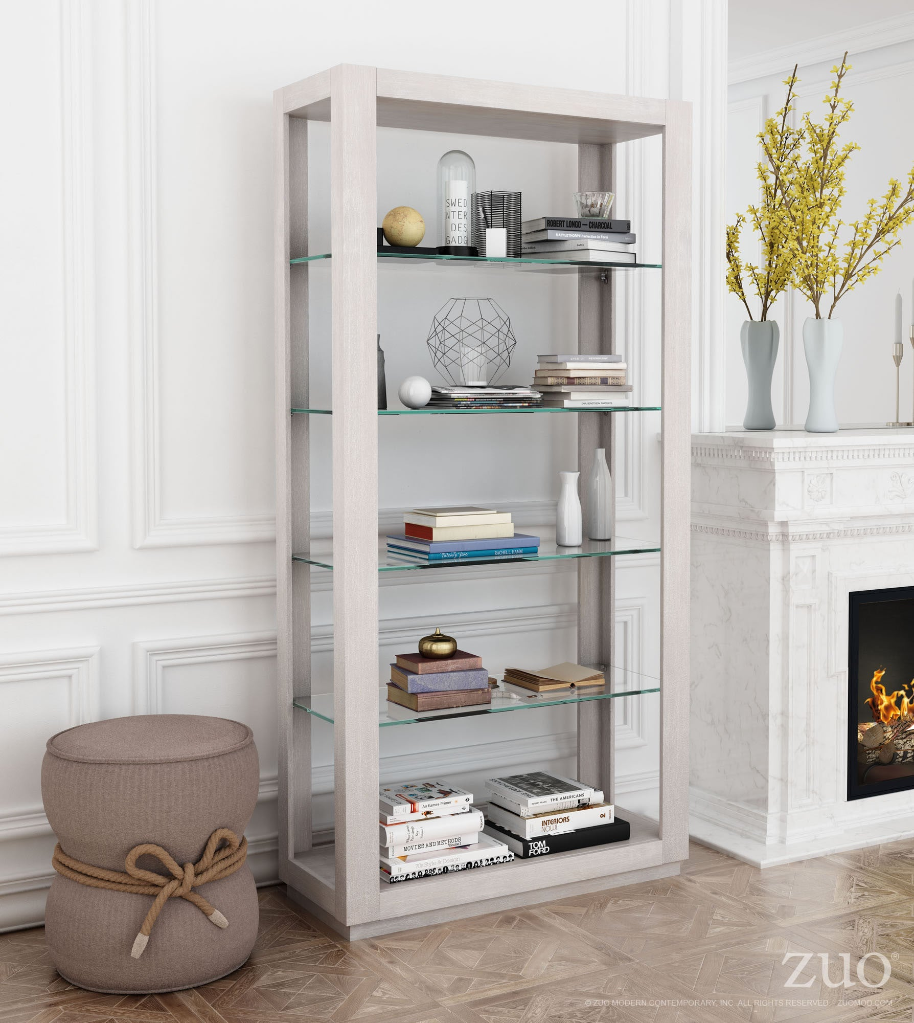 Beaumont Tall Bookcase In Sun Drenched Acacia Tempered Glass Bookcases Alan Decor