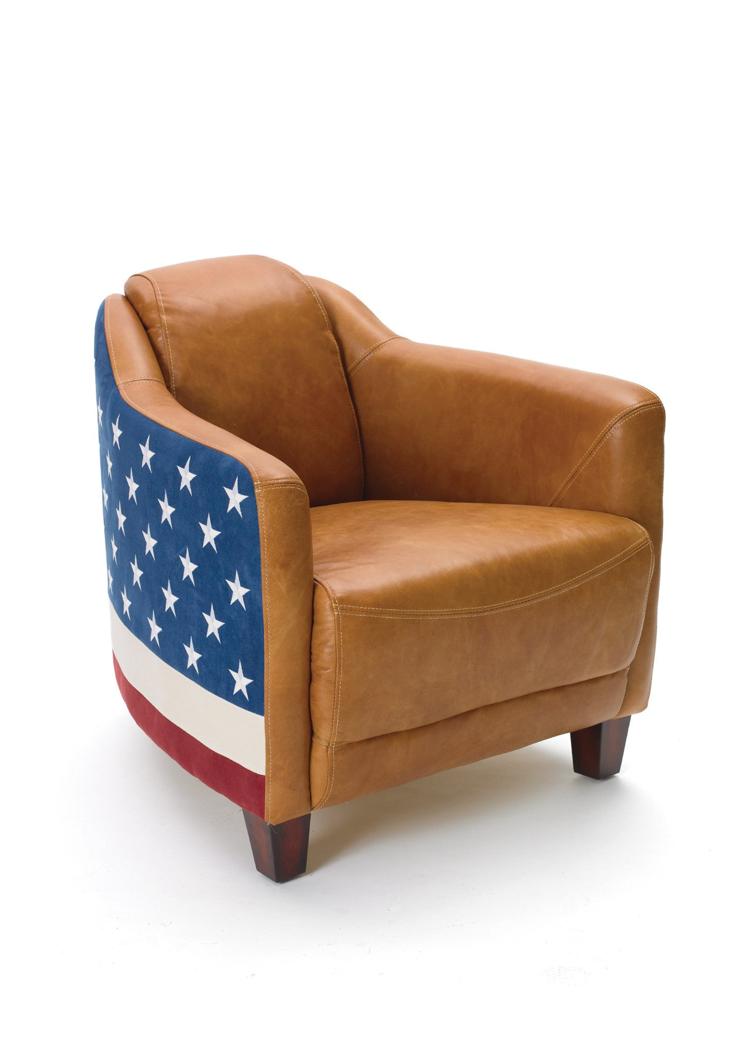 Bipartisan Arm Chair In Leather With American Flag Ultrasuede Back Arm  Chairs Alan Decor ...