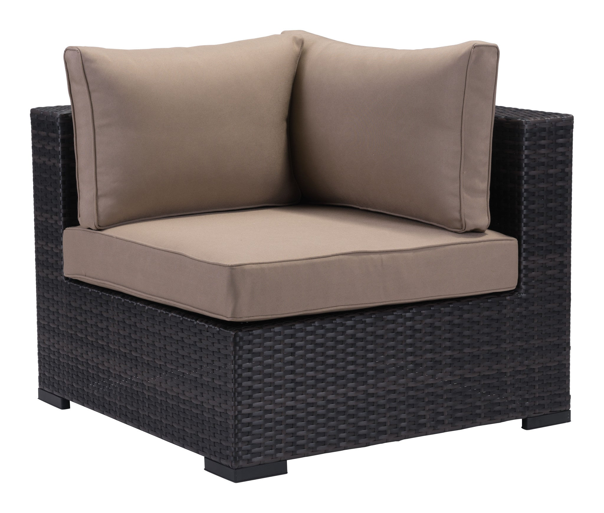 Bocagrande Patio Corner Chair in Brown Synthetic Weave with Beige Sunp