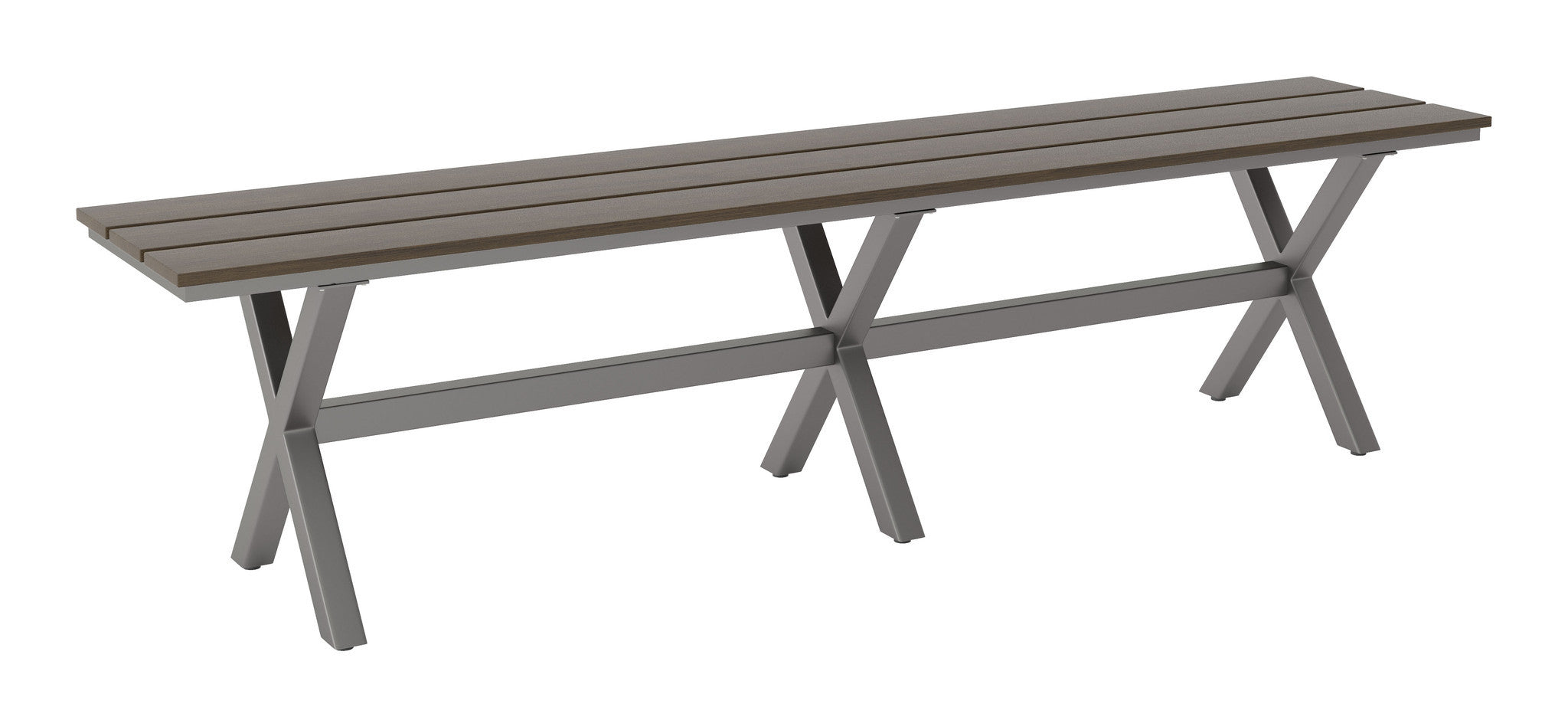 Bodega Outdoor Dining Bench In Industrial Gray U0026 Brown Polywood Outdoor  Benches Alan Decor ...