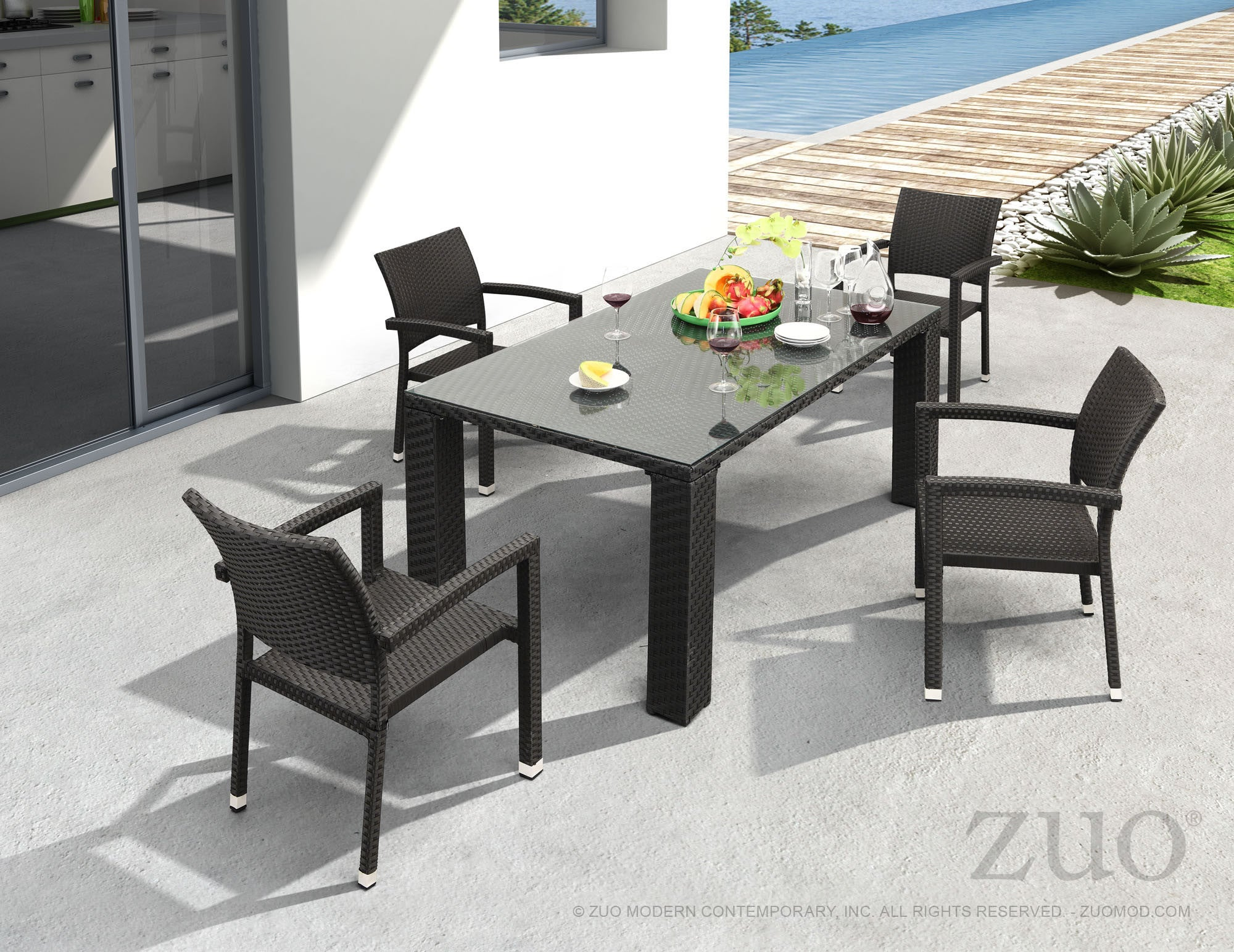 ... Boracay Patio Dining Table In Espresso Synthetic Weave U0026 Tempered Glass Outdoor  Dining Tables