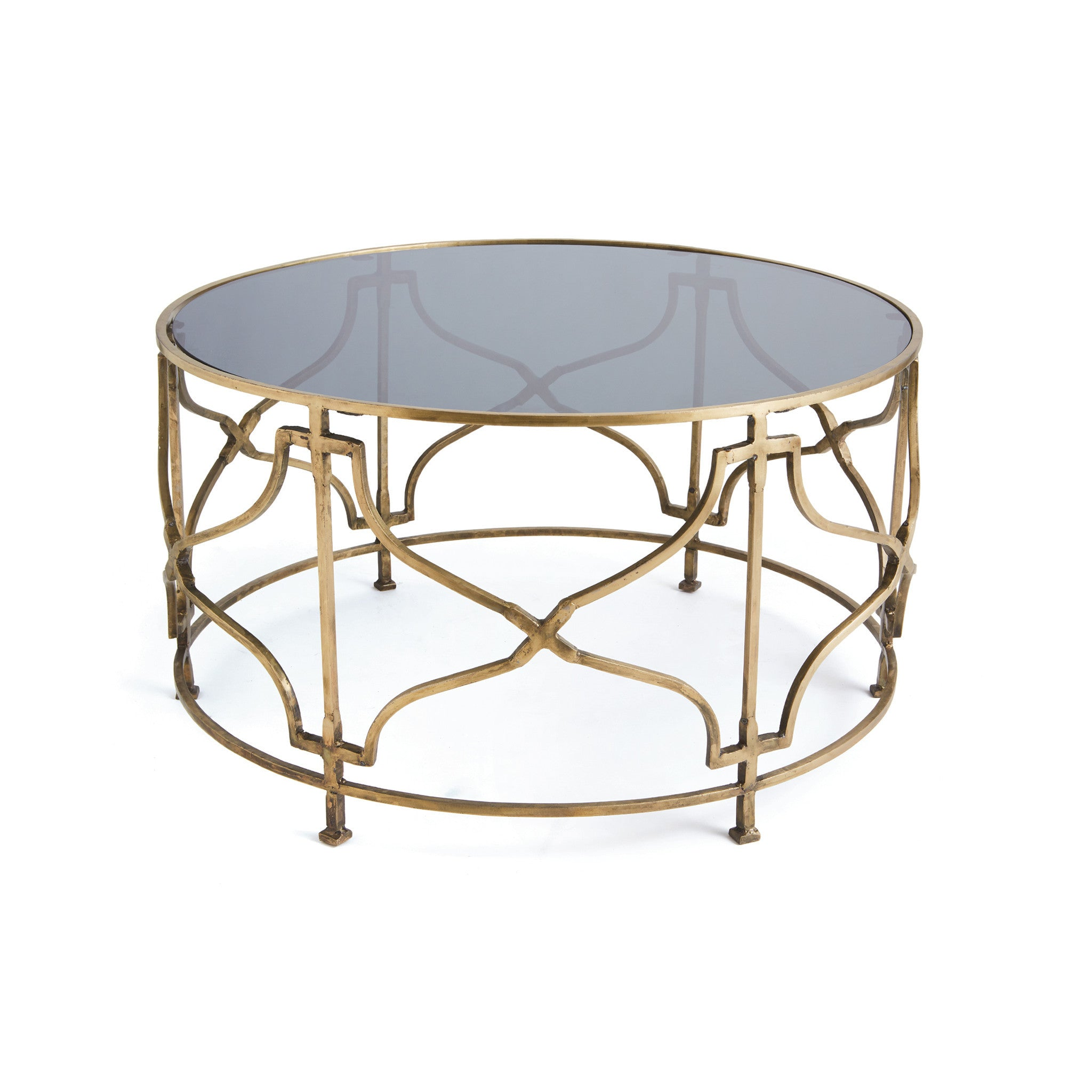 Bradley Coffee Table With Round Glass Top On Antiqued