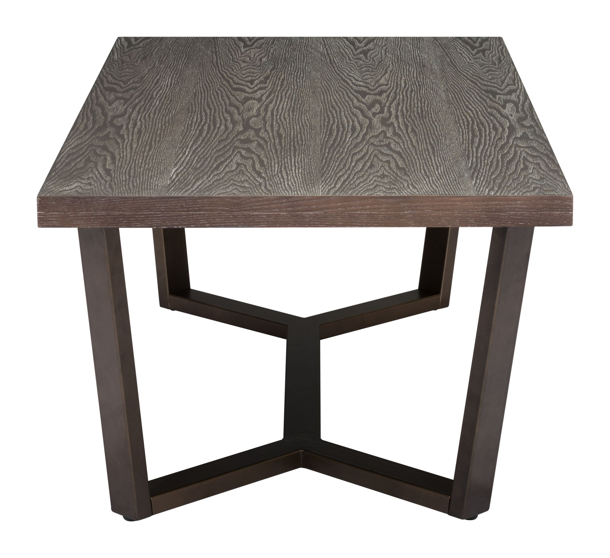 Brooklyn Coffee Table in Gray Oak on Antique Brass Base