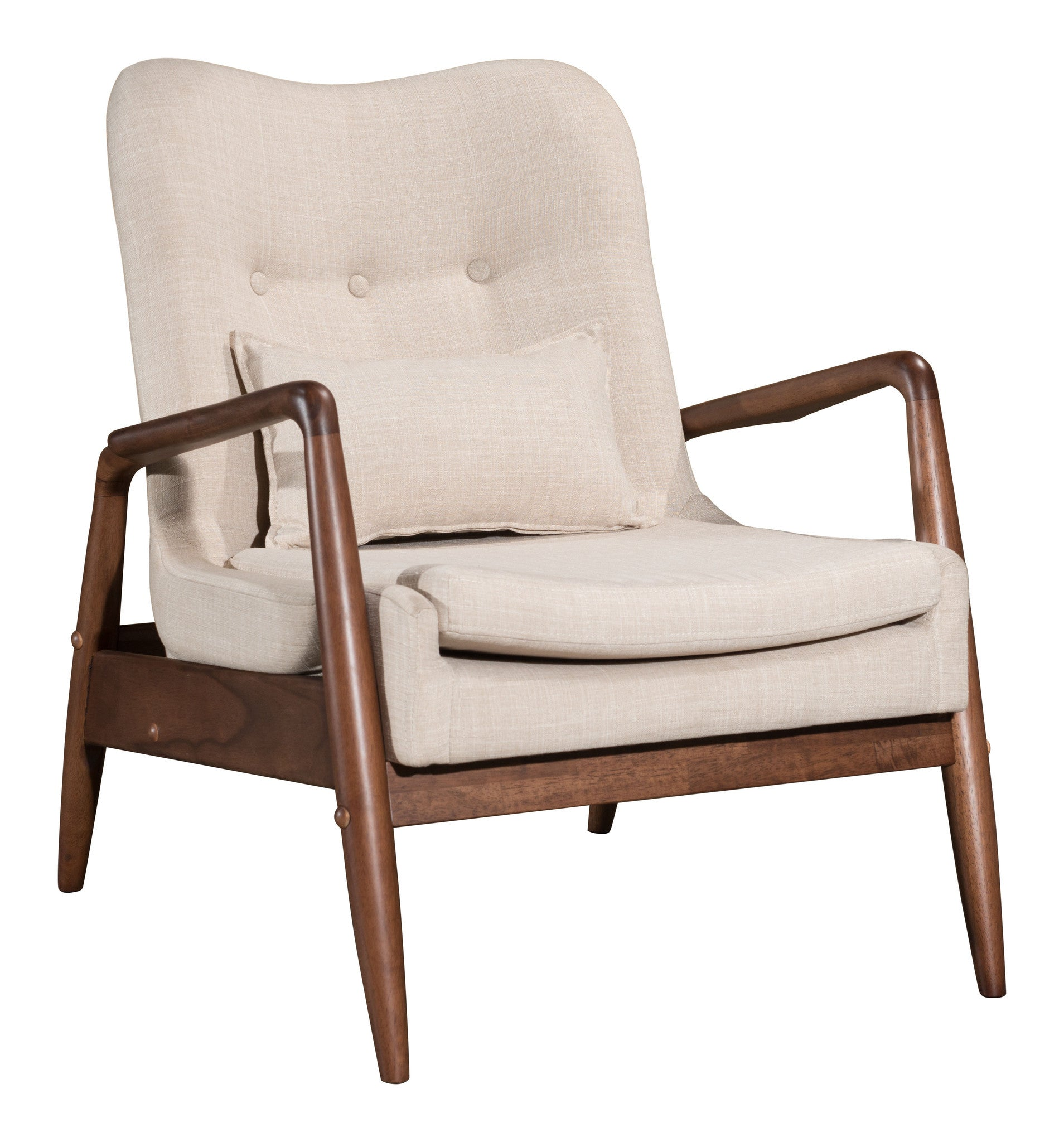 ... Bully Lounge Chair U0026 Ottoman Set In Tufted Beige Fabric On Wood Frame Lounge  Chairs ...