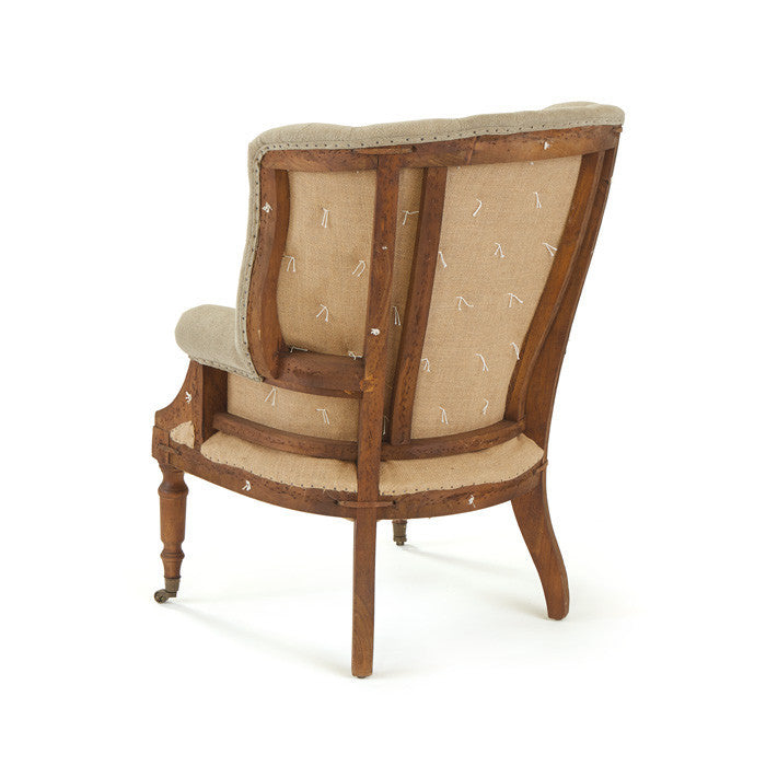 Cambridge Arm Chair in Leather and Burlap on Wood and Iron Frame