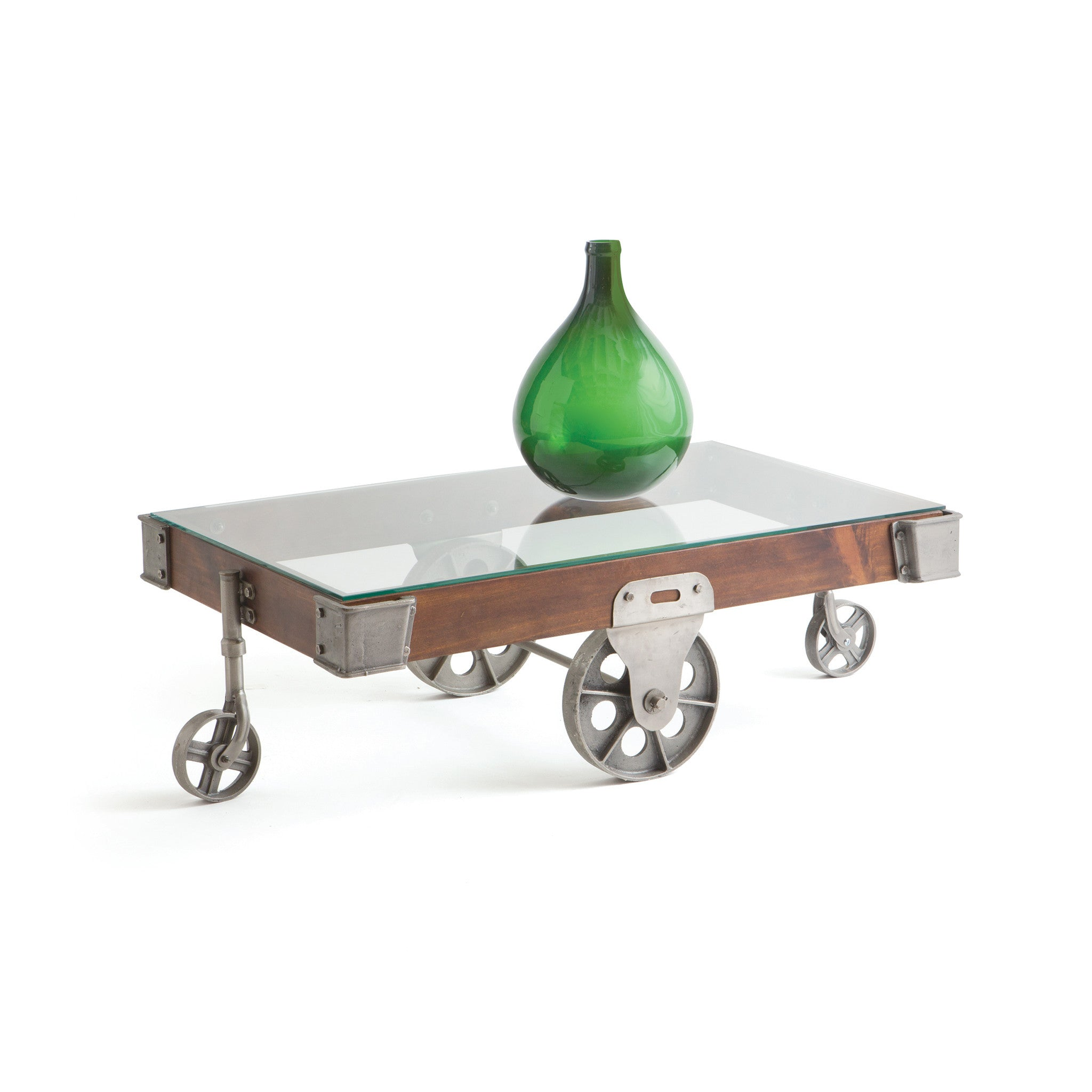 Camden Coffee Table in Brushed Nickel Iron and Wood with Glass Top