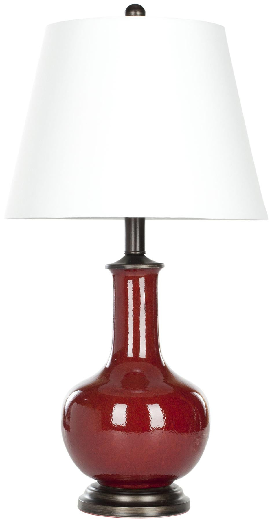 Carolanne Ceramic Table Lamp In Red With White Shade (Set Of 2) Table ...