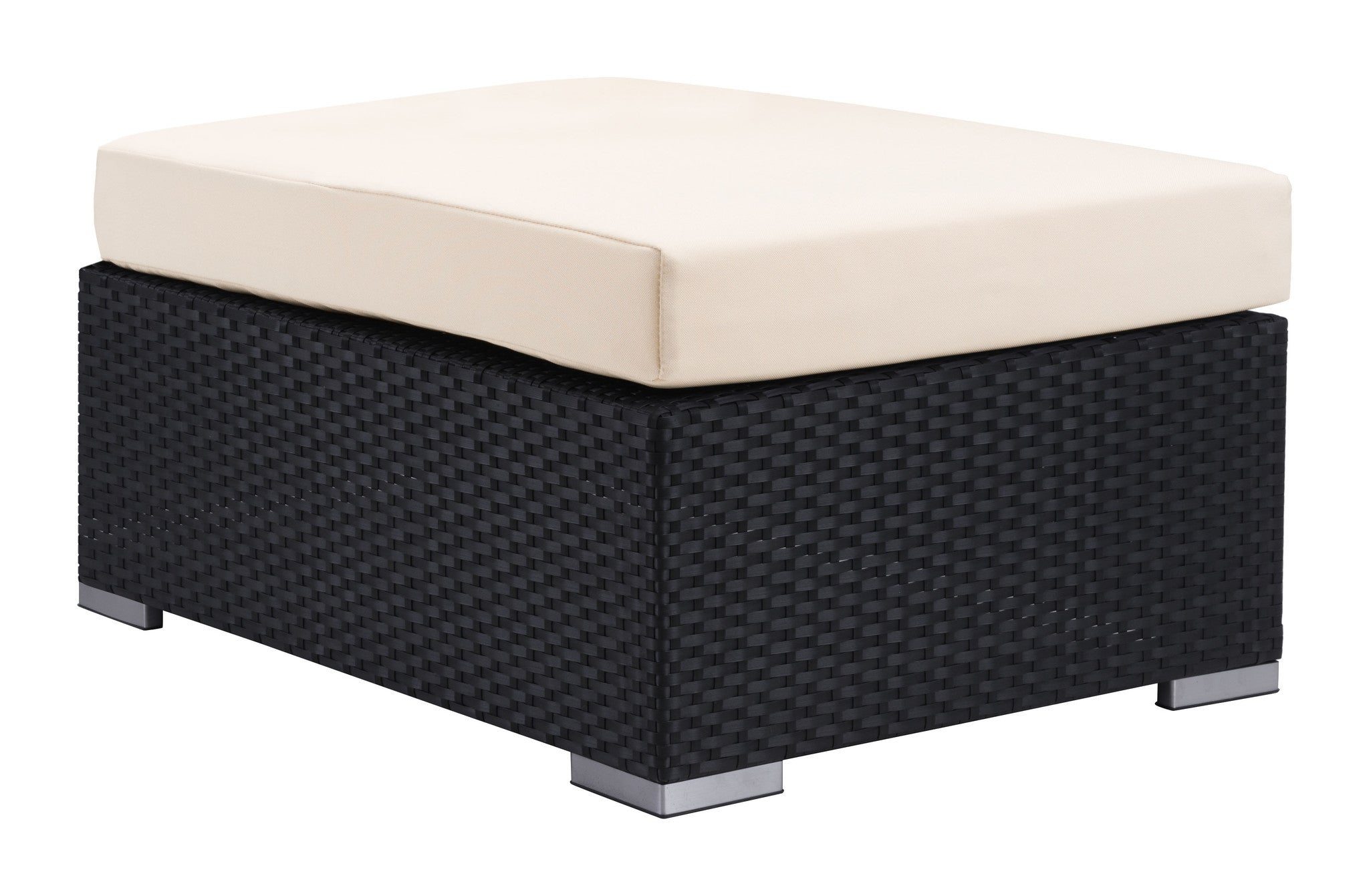 Cartagena Patio Ottoman In Espresso Synthetic Weave With Sunproof Fabric  Cushion Outdoor Ottomans Alan ...