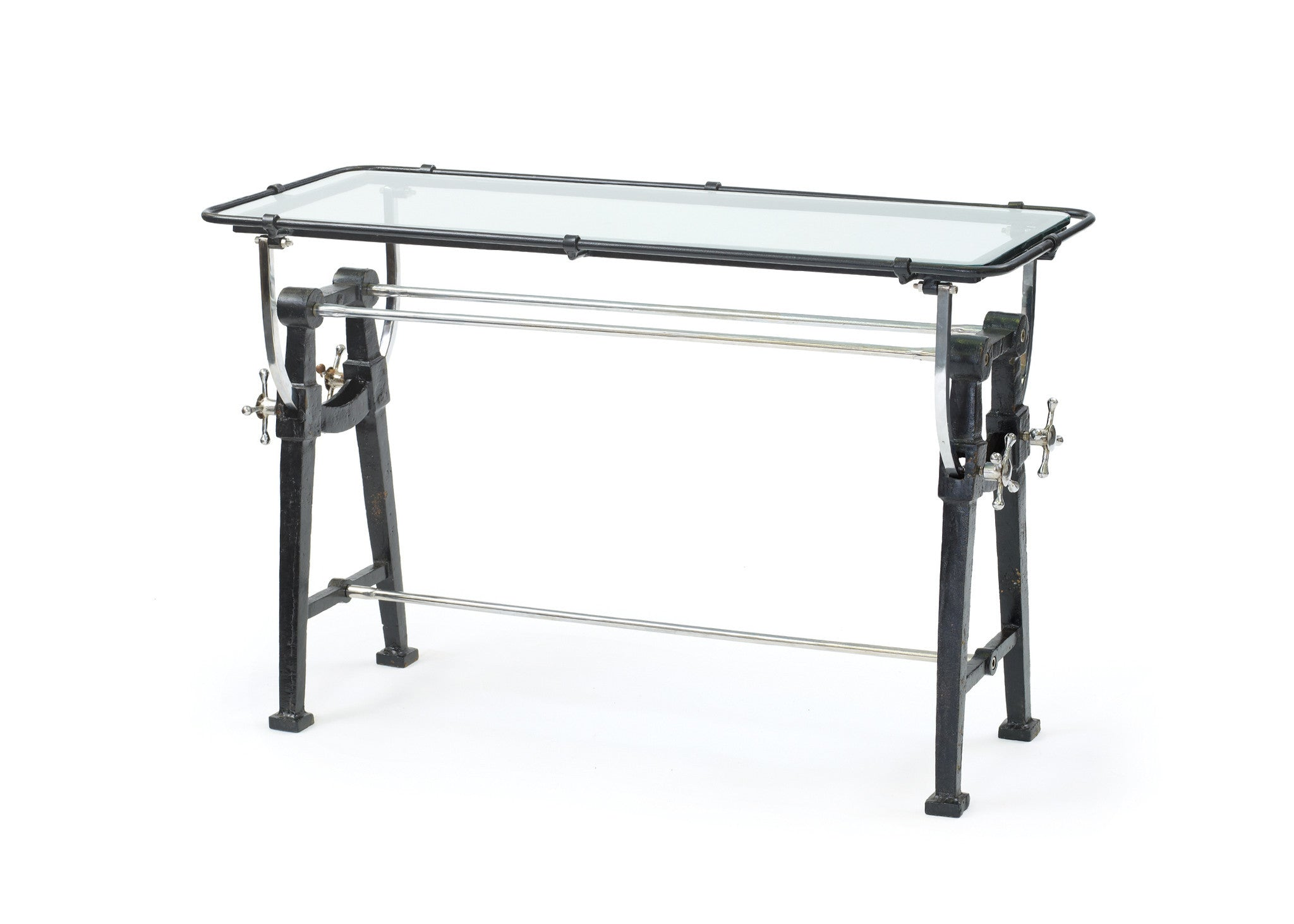 Charting Console Table With Glass Top On Blackened Iron And Polished N ~ Sofa Table With Glass Top