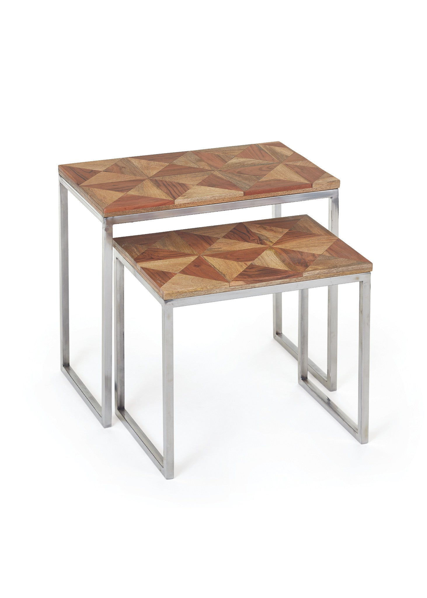 Cheshire Nesting Tables with Natural Parquet Wood Top on Polished Nick