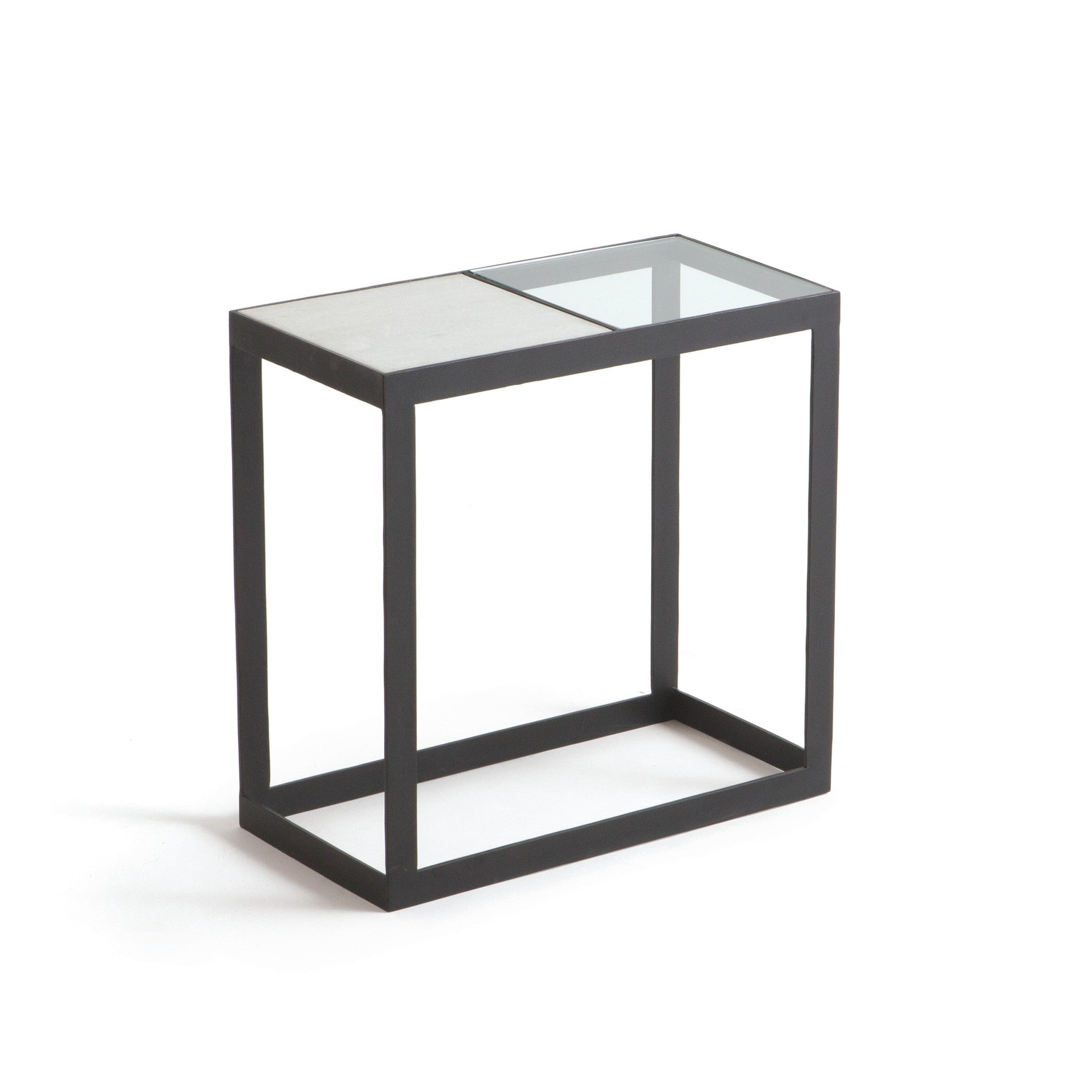 Attirant Cole Side Table In Matte Iron With Glass And Marble Top Side Tables Alan
