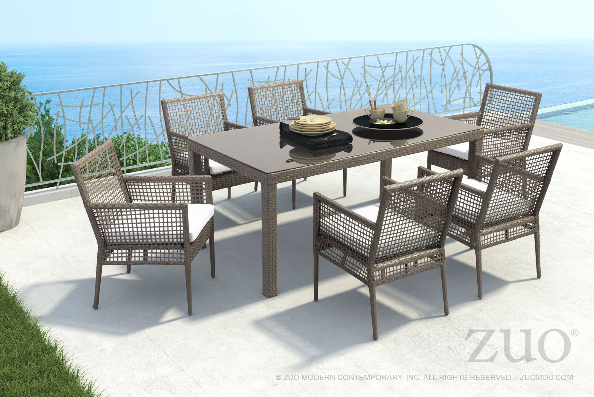 Coronado Patio Dining Table in Woven Cocoa Resin with Tempered Glass