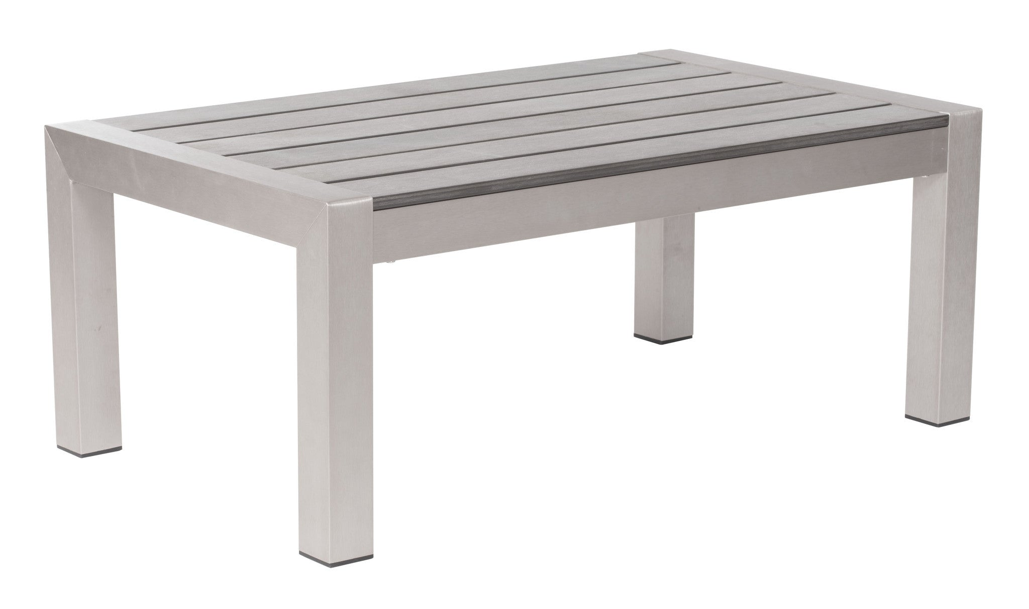 Cosmopolitan Patio Coffee Table In Brushed Aluminum - Black aluminum outdoor coffee table