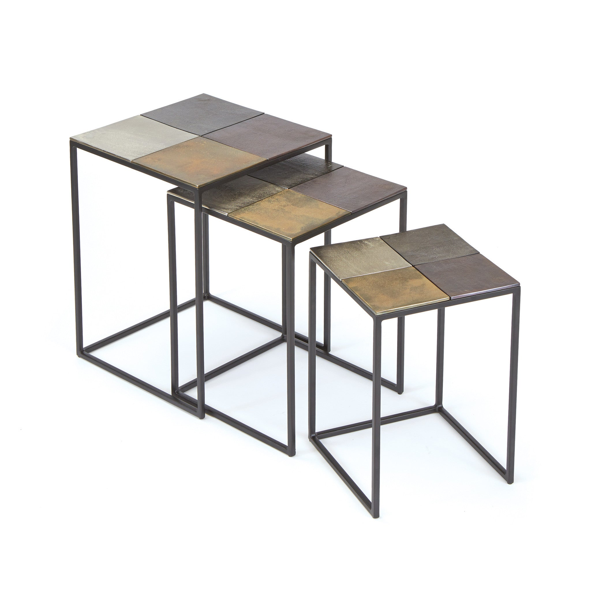 Costello Nesting Tables In Iron And Aluminum (Set Of 3) Side Tables