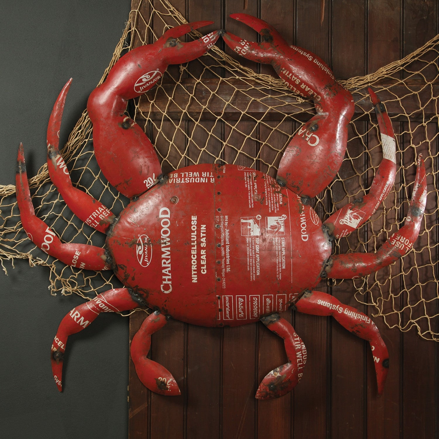 Crab wall sculpture in reclaimed metal crab wall sculpture in reclaimed metal wall decor alan decor amipublicfo Gallery